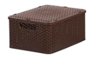 Корзинка ротанг S с крышкой (код 5501) коричневый 285 х 195 x 130 /  *24 купить оптом и в розницу