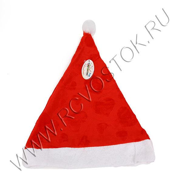 Колпак новогодний, красный ″Сердечки″ бархатный 28*38см купить оптом и в розницу