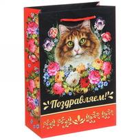 Пакет 15х22 см глянцевый ″Поздравляем!″, Жостовская кошка, вертикальный купить оптом и в розницу