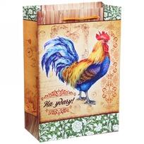 Пакет подарочный 15х22 см вертикальный ″На удачу!″, Живописный петушок купить оптом и в розницу