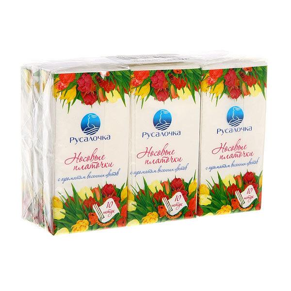 Платочки бумажные 10шт. Русалочка Весенние цветы купить оптом и в розницу
