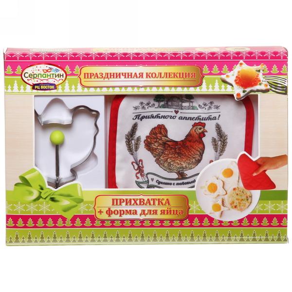 Набор форма для яичницы и прихватка ″Приятного аппетита!″, Деревенская курочка купить оптом и в розницу