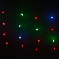 Бахрома светодиодная 2,5 х 0,6м, 48 ламп LED, Шар, RG/RB (красный, зеленый/ красный,синий), прозр.пров,с возм.соед,12 нитей купить оптом и в розницу