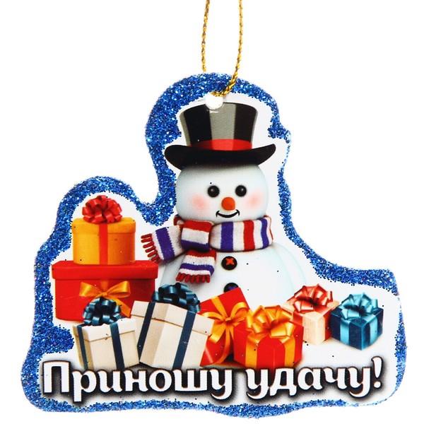 Подвеска в блёстках ″Приношу удачу!″, Снеговичок купить оптом и в розницу
