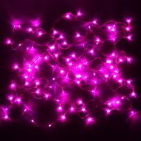 Гирлянда светодиодная 9,5м,100 ламп LED, Розовый, 8 реж, зелен.пров., с возмож. соединен. купить оптом и в розницу