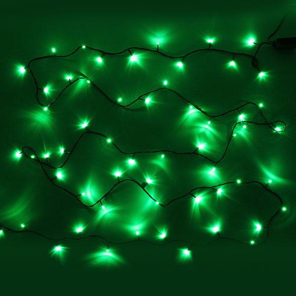 Гирлянда для дома 9,5м 100 ламп LED зелёный пров. Зелёный купить оптом и в розницу