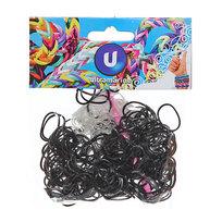 Резинки для плетения 300шт черные с крючком и S-клипсами купить оптом и в розницу
