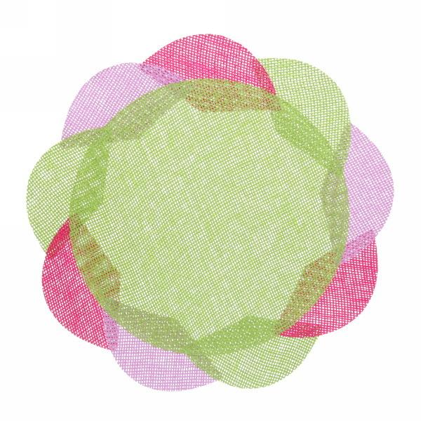 Салфетка на стол 38см плетеная, Цветок зеленая купить оптом и в розницу
