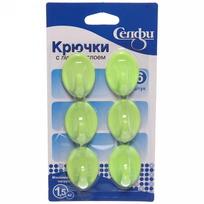 Набор крючков с липким слоем Селфи 9906-1 (6шт., нагрузка 1.5кг) зеленый купить оптом и в розницу