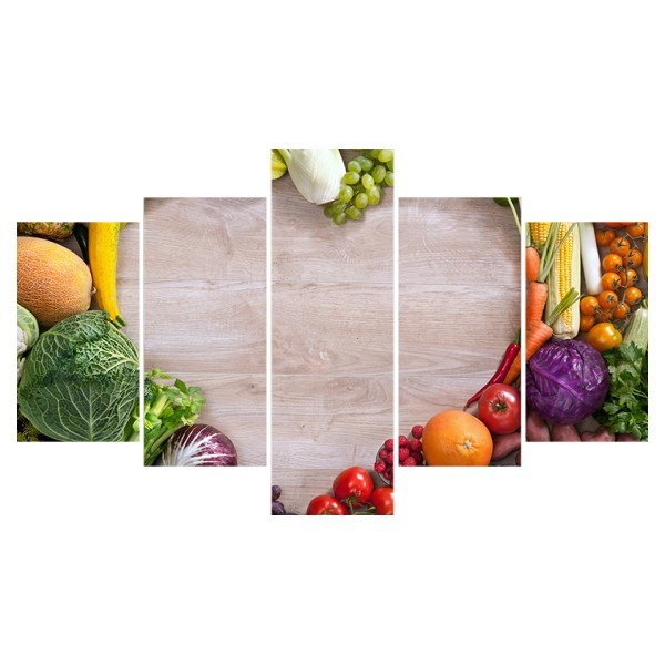 Картина модульная полиптих 75*130 см, сердце, овощи купить оптом и в розницу