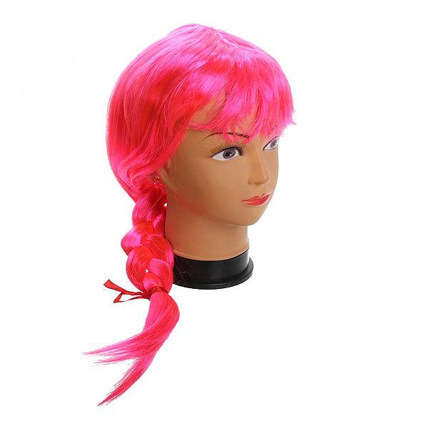 Парик карнавальный ″Блондинка с косичкой″ розовый цв 999-1 купить оптом и в розницу