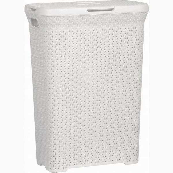 Корзинка плетенная узкая 55 л с крышкой  белый  450 х 270 х 610 *6 купить оптом и в розницу