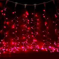 Занавес светодиодный ш 2 * в 6м, 864 лампы LED, ″Дождь″, Красный, 8 реж, прозр.пров. купить оптом и в розницу