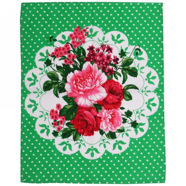 Полотенце вафельное 45*60см ″Медальон″ зеленое купить оптом и в розницу