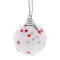 Новогодние шары 4 см ″Звездочка″ набор 6 шт, белый купить оптом и в розницу