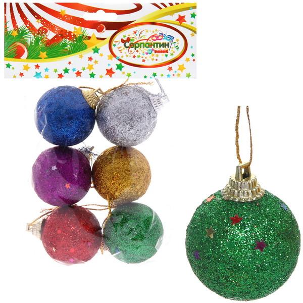 Новогодние шары 4 см (набор 6 шт) ″Посыпка из блёсток″, микс купить оптом и в розницу