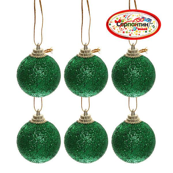 Новогодние шары 4 см (набор 6 шт) ″Посыпка из блёсток″, зеленый купить оптом и в розницу