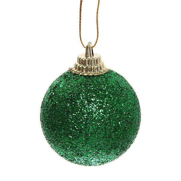 Новогодние шары 4 см ″Изумруд″ набор 6 шт, зеленый купить оптом и в розницу
