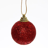 Новогодние шары 4 см ″Рубин″ набор 6 шт, красный купить оптом и в розницу