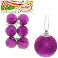 Новогодние шары 4 см ″Аметист″ набор 6 шт, розовый купить оптом и в розницу