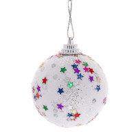 Новогодние шары 5 см ″Звездочка″ набор 6 шт, белый купить оптом и в розницу