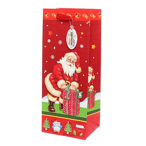 Пакет подарочный 36х14,8х11,5 см ″Новогодний″ под Шампанское 3D купить оптом и в розницу