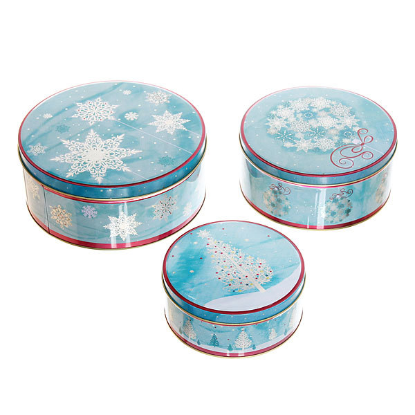 Набор банок жестяных 3шт ″Снежинки″ (400,700,1500мл) купить оптом и в розницу