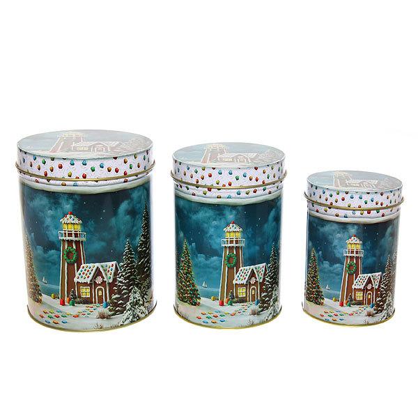 Набор банок жестяных 3шт ″Пряничный домик ″ (300,600,1000мл) купить оптом и в розницу