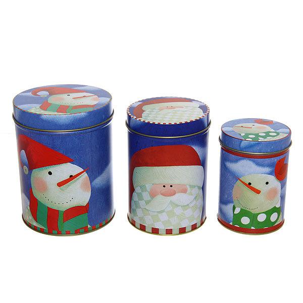 Набор банок жестяных 3шт ″Снеговик″ (300,600,1000мл) купить оптом и в розницу