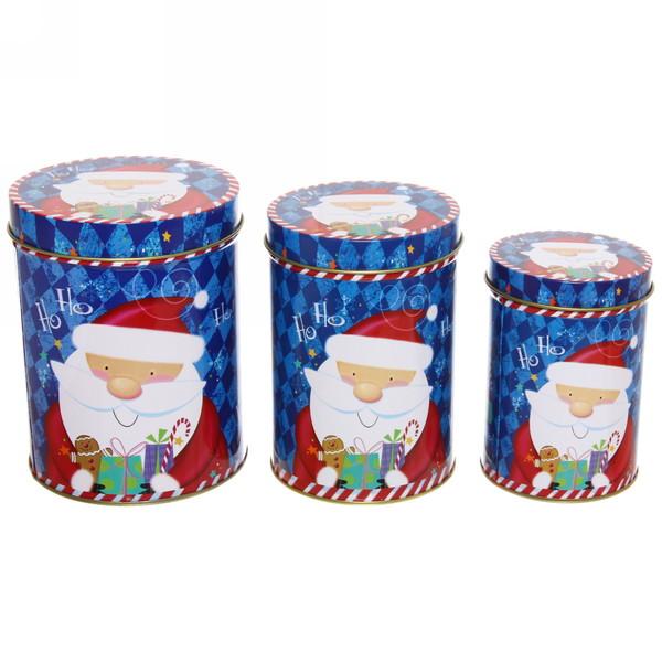 Набор банок жестяных 3шт ″Дед мороз″ (300,600,1000мл) купить оптом и в розницу