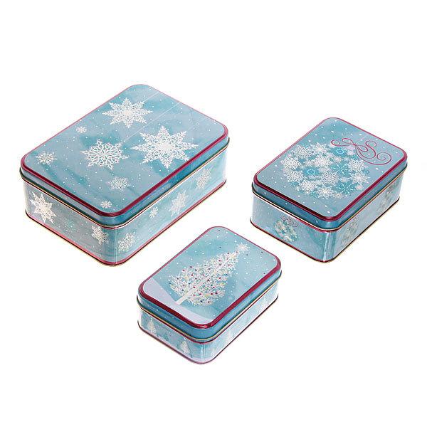 Набор банок жестяных 3шт ″Снежинки″ (200,400,700мл) купить оптом и в розницу