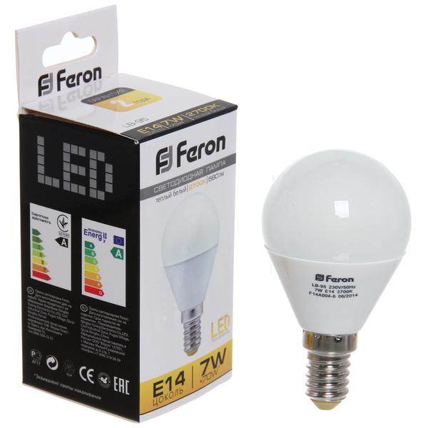 Лампа светодиод. ШАР мини 7 Вт E14 2700K G45 LB-95 Feron купить оптом и в розницу