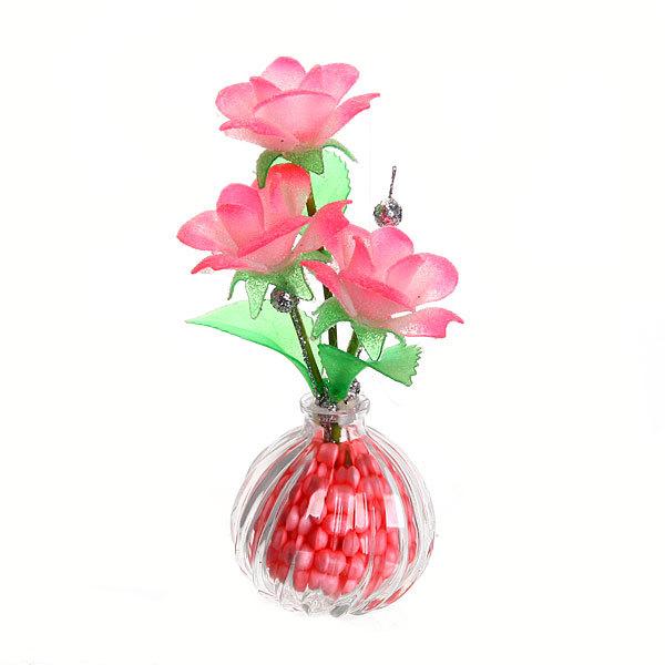 Фигурка из акрила ″Розы с веточкой″ 19 см 3 штуки в вазе купить оптом и в розницу