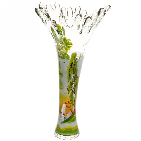 Ваза стеклянная 38см ″Корал″, ручная роспись Лето купить оптом и в розницу