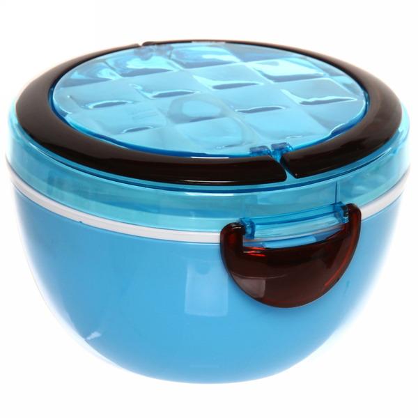 Ланч-бокс пластиковый 1000 мл (тарелка, вилка, ложка) синий купить оптом и в розницу