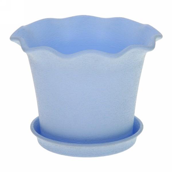 Горшок для цветов с поддоном ″Le Fleurе″ 1л. d13,5 402-5 голубой (Р) купить оптом и в розницу