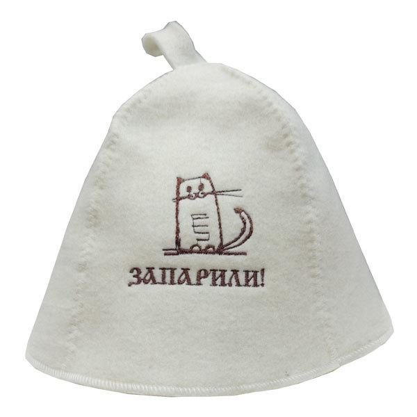 Шапка П/Ш белая Запарили (кот) купить оптом и в розницу