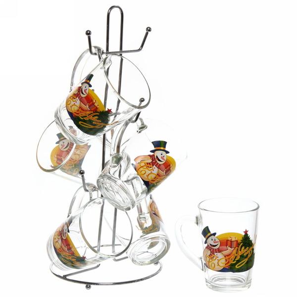 Набор кружек 6шт 300мл ″Снеговик с подарками″ +стойка в подарочной упаковке D1334/06 купить оптом и в розницу