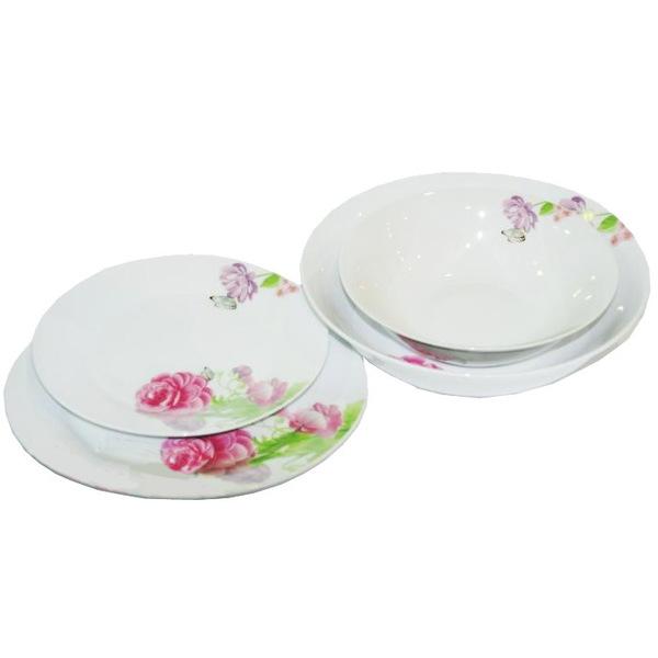 Набор столовой посуды 19 предметов ″Розы″ (салатник 170, тарелка 170, тарелка 200, салатник 200) купить оптом и в розницу