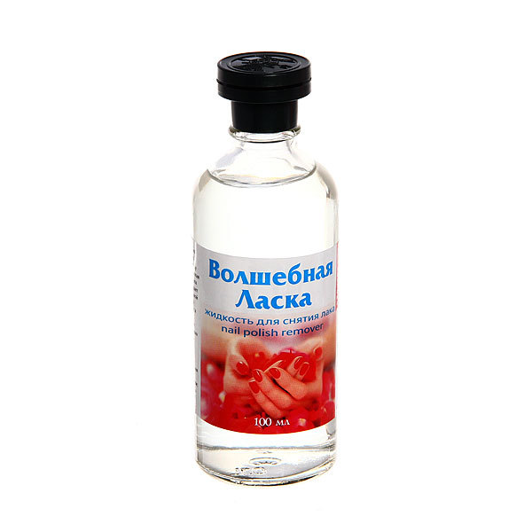 Жидкость для снятия лака без ацетона ″Волшебная ласка″ в стекле 100мл купить оптом и в розницу