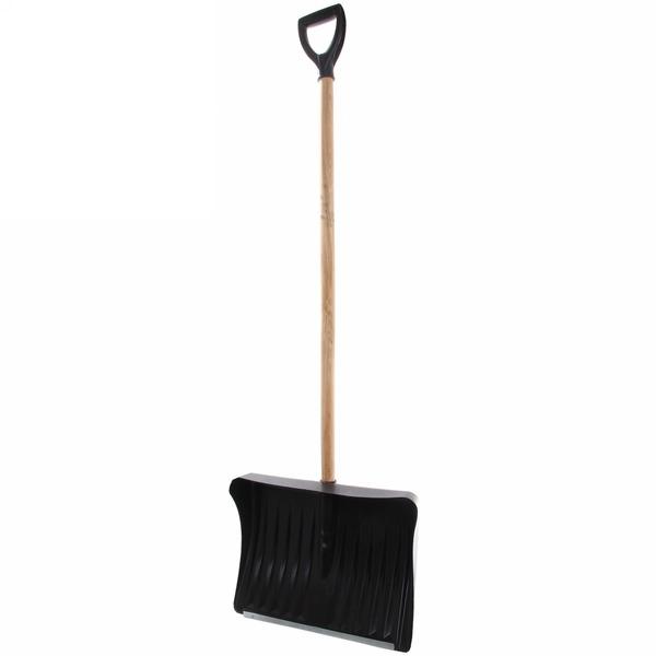 Лопата снеговая пластиковая с оц. планкой дер.череноком 49х40 см купить оптом и в розницу