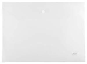Папка-конверт Пластиковая на кнопке А4ф Hatber 180мкм прозрачная купить оптом и в розницу