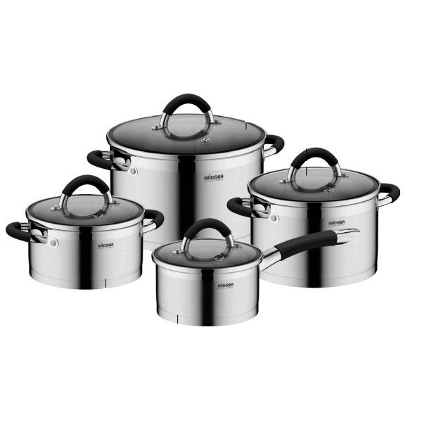 Набор наплитной посуды из нержавеющей стали, 8 пр., NADOBA, серия OLINA*1 купить оптом и в розницу