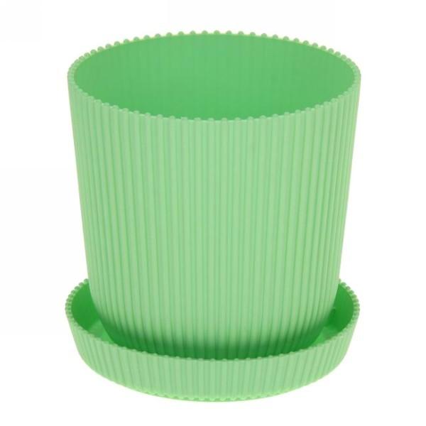 Горшок для цветов с поддоном ″Le Gaufre″ 1л. d11,5 801-1 зеленый (Р) купить оптом и в розницу