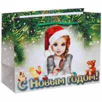 Пакет подарочный 14х18 см горизонтальный ″С Новым годом″, Снегурочка купить оптом и в розницу