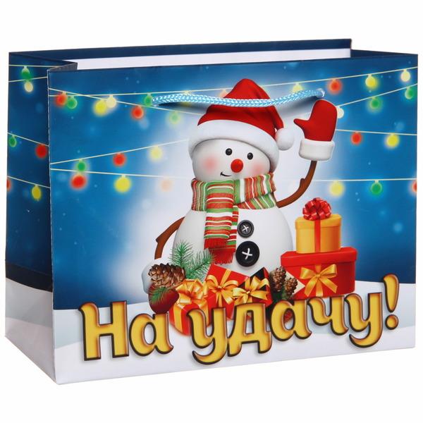Пакет 14х18 см глянцевый ″На удачу!″, Снеговичок, горизонтальный купить оптом и в розницу