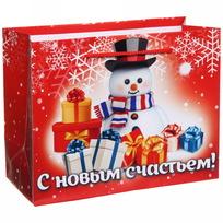 Пакет подарочный 14х18 см горизонтальный ″С новым счастьем!″, Снеговичок купить оптом и в розницу
