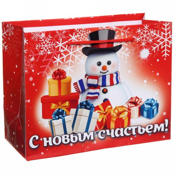 Пакет 14х18 см глянцевый ″С новым счастьем!″, Снеговичок, горизонтальный купить оптом и в розницу
