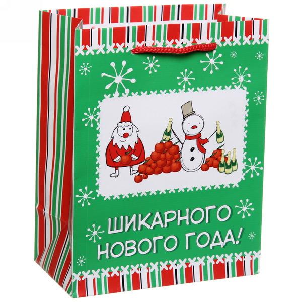 Пакет 14х18 см матовый ″Шикарного Нового года!″, Снежон и Борода, вертикальный купить оптом и в розницу