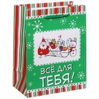 Пакет подарочный 14х18 см вертикальный ″Все для тебя!″, Снежон и Борода купить оптом и в розницу